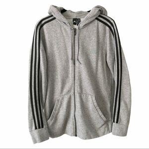 Adidas Full Zip Gray 3 Stripe Hoodie Athletic Gym